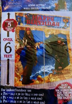 POTC Johnny Depp Jack Sparrow Pirates 6 FOOT TALL Wall Scene Setter HUGE 5 PC