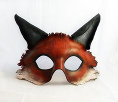 Red Fox Leather Half Mask by LibertiniArts on Etsy