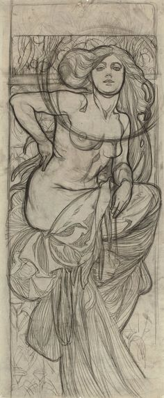 Alphonse Mucha (Czech, Study for 'Documents Decoratif', Charcoal on paper, x 41 cm. Alphonse Mucha, Figure Drawing, Drawing Reference, Jean Leon, Edward Hopper, Sketchbook Inspiration, Art Studies, Illustrations And Posters, Beautiful Artwork
