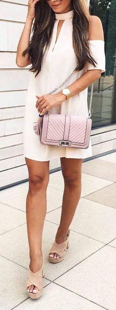 #summer #outfits / cut off shoulder dress