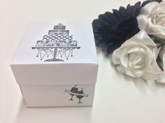 The classic box favour created in white & black. Very elegant looking! ❤ www.cutncreate.com facebook.com/CutnCreate