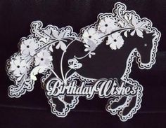 Birthday Wishes Floral Horse Topper SVG on Craftsuprint designed by Tina Fitch - A beautiful floral horse topper that is scalloped layered for you all you need to do is cut assemble and place on your own card base. - Now available for download!