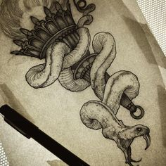 27 New ideas for tattoo snake drawing art Elephant Tattoos, Wolf Tattoos, Animal Tattoos, Celtic Tattoos, Tattoos Skull, Tattoo Sketches, Drawing Sketches, Tattoo Drawings, Art Drawings