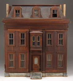 Dioramas and Clever Things: Antique Dollhouses made from wood. Victorian Dollhouse, Dollhouse Dolls, Dollhouse Miniatures, Wooden Dollhouse, Miniature Houses, Miniature Dolls, Fairy Houses, Doll Houses, Old Dolls