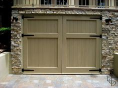 Photo of Olympic style with 2 horizontal panels. Evergreen Carriage Doors builds custom hand crafted authentic antique carriage house doors and carriage garage doors that hinge and swing out. Small Garage Door, Garage Door Trim, Double Garage Door, Sliding Garage Doors, Carriage House Garage Doors, Garage Door Colors, Modern Garage Doors, Garage Floor Paint, Garage Door Styles