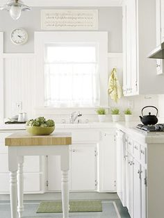 white / fresh and bright.... the grey for our kitchen?
