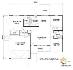 Ranch House Plan 94461 with 3 Beds, 2 Baths, 2 Car Garage Level One Ranch House Plans, Country House Plans, Best House Plans, Small House Plans, 3 Bedroom Home Floor Plans, House Floor Plans, Starter Home Plans, Interior Minimalista, Ranch Style Homes