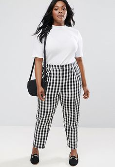 ASOS Curve gingham black and white tapered trousers | ASOS Fashion & Beauty Feed
