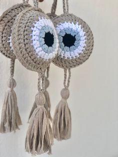 Crochet Eyes, Free Crochet, Knit Crochet, Crochet Wall Art, Crochet Home Decor, Art Bag, Crochet Blanket Patterns, Crochet Accessories, Evil Eye