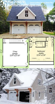 Architectural Designs Carriage House Plan 29887RL can be used as a garage, vacation home, in-law apartment, man cave, playhouse or home office. Ready when you are. Where do YOU want to build?
