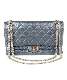 db3dea7f7972 Chanel Classic Reissue 2.55 Metallic Blue Quilted Leather Silver Chain Bag  - Michael s Consignment NYC Metallic