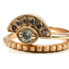 Perfect Purple and White Diamond Egyptian Engagement Ring Set k Yellow Gold Pyramids and Evil