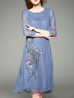 Embroidered Silk Midi Dress.  I wish this company had good reviews.