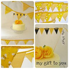 """Bumble bee """"Party Time"""" Kit 1 x Large 12 flag bunting 1 x  16 flag mini fabric bunting & FREE cake bunting READY to SHIP on Etsy, $60.70"""