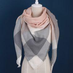 Za 겨울 럭셔리 브랜드 격자 무늬 캐시미어 스카프 여성 대형 담요 스카프 랩 삼각형 스카프 여성 Pashmina의 숄 스카프
