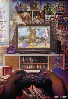"""Gamer Room by Rachid Lotf- Philippe Antoine- Classic Video Games, Retro Video Games, Video Game Art, Retro Games, Video Game Posters, Arte 8 Bits, Mundo Dos Games, Digital Foto, Arte Cyberpunk"