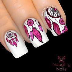 3.5AUD - Magenta Pink Dream Catcher Nail Water Transfer Decal Sticker Art Tattoo Feather #ebay #Fashion Feather Nail Designs, Feather Nails, Fall Nail Art Designs, Toe Nail Designs, Acrylic Nail Designs, Tattoo Feather, Indian Nail Art, Indian Nails, Cute Nails