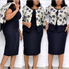 Foreverfad Plus size printed lace coat dress two-piece suit dress African Formal Dress, African Dress, African Attire, African Style, Latest African Fashion Dresses, Women's Fashion Dresses, Ankara Fashion, Coat Dress, Buy Dress