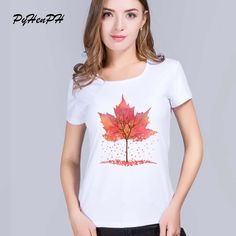 >> Click to Buy << PyHenPH Maple Leaf Printed T shirt female Casual Short Sleeve Tops  women tshirt for lady Funny Cool tees #Affiliate