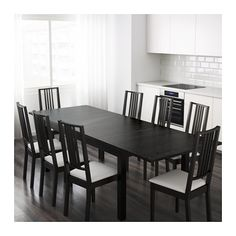 "BJURSTA Extendable table, brown-black - IKEA, $249 --  69/86/102"" x 37"" -- With 2 extra leafs stored under the table top you can extend the table to seat from 4 to 8 people. -- Length: 85 7/8 "" Min. length: 68 7/8 "" Max. length: 102 3/8 "" Width: 37 3/8 "" Height: 29 1/8 """