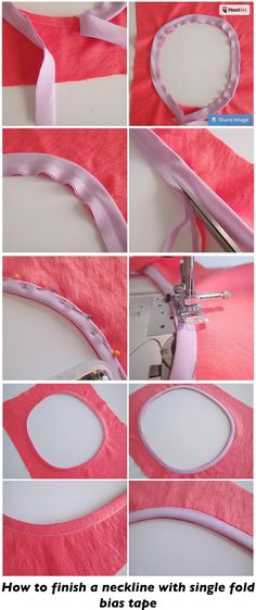как пришить косую бейку How to finish a neckine with single fold bias tape