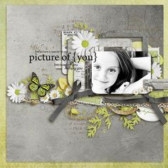 """Picture of You"" - love the ribbon and butterfly, the gray & the green #scrapbooking"