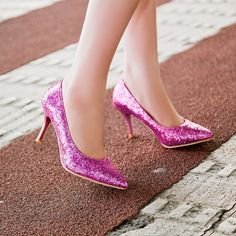 Pointed Toe Sequin High Heels Spike Wedding Shoes 4303