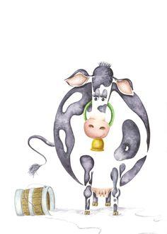 Cow Print Fine Art Giclee Print Illustration by SolingerArt