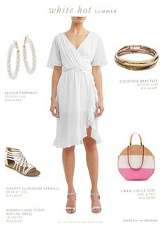 White dress and outfit for summer with affordable white ruffled wrap dress and cute accessories #Ad #WeDressAmerica #WalmartFashion