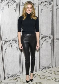 Biased opinion: Rebecca Romijn, 43, told Entertainment Tonight on Tuesday that she thinks her husband Jerry O'Connell would make a 'great' replacement for Michael Strahan on Live!; here she is seen in mid April in NYC