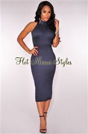 Navy Blue Faux Suede Mock Neck Midi Dress