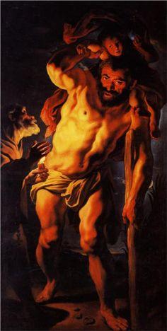 Saint Christopher carrying the Child Jesus - Jacob Jordaens Anthony Van Dyck, Peter Paul Rubens, Jacob Jordaens, Italian Paintings, Baroque Art, Saint Christopher, Canvas Prints, Art Prints, National Museum