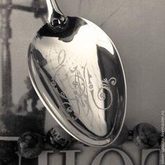 """Купить Серебряная чайная ложка """"Овен"""" с гравировкой инициалов ЕМ - серебряная ложка, кофейная ложка"""