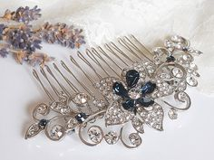 Crystal Bridal Hair Comb, Rhinestone Wedding Hair Accessories, Art Deco Flower Leaf Filigree Hairpiece, Victorian Style Hair Jewelry, ODETTA