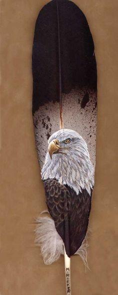 Bald Eagle on Eagle's feather Eagle Painting, Feather Painting, Feather Art, Wooden Feather, Native Indian, Native Art, Native American Indians, Arte Haida, Eagle Feathers