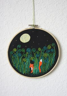 "Hand Embroidery Hoop ""The Starry Night""/Stickrahmenbild ""Sternennacht"" 