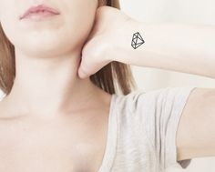 PepperInk Temporary Tattoo | Shine like a diamond and remember your worth with tiny diamond temporary tattoos. Sized for wrists, ankles or ribcages, these diamonds have bold tattooed lines and are in a range of sizes. They look oh-so-darling.