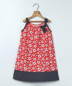 Red A-line Floral Print Dress - Infant Toddler & Girls