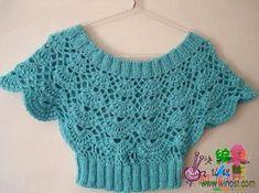 How to tutorial knitting and crochet baby pattern free - Örgü Modelleri - Crochet Yoke, Crochet Shirt, Crochet Diagram, Crochet Cardigan, Crochet Toddler, Crochet Baby Clothes, Crochet Stitches Patterns, Baby Patterns, Crochet Summer Tops