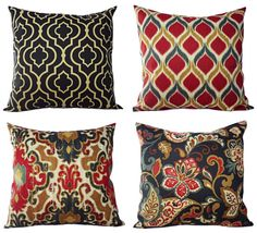 Two Decorative Pillow Covers in Navy and Maroon - 18 x 18 Inch Throw Pillow Cover - Navy Ikat Pillow - Navy Quatrefoil Pillow -Suzani Pillo on Etsy, $30.00