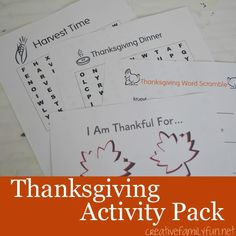 Free printable Thanksgiving activity pack with 2 word searches, a word scramble, and thankful leaves. It's a perfect quiet time activity for your kids.