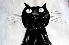 cat, illustration by Hazel Terry Baby Cats, Cats And Kittens, Graphic Design Illustration, Illustration Art, Cat Illustrations, Black Cat Art, Gatos Cats, Cat Drawing, Crazy Cat Lady