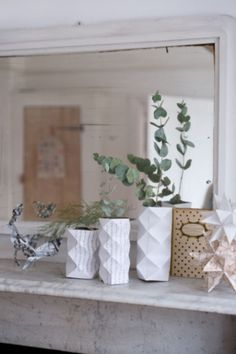 "These white vases are from our feature ""Perks of December"" Decor, December, White Vases, Home Decor, Vase, Xmas"