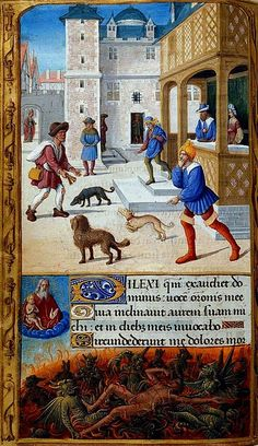 Tilliot Hours, 180 x 110, c. 1500, Dives and Lazarus, illuminated by JEAN POYER. Yates Thompson 5, f. 70v.