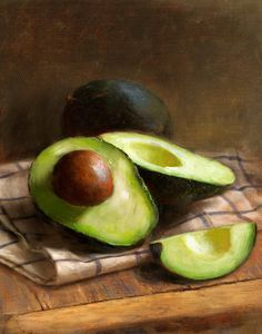 I recently fell in love with avocado, and now I can't get enough of this amazing SUPER FRUIT (yes, avocado is a FRUIT!) Avocados by Robert Papp - Avocados Painting - Avocados Fine Art Prints and Posters for Sale Still Life Drawing, Painting Still Life, New Fruit, Fruit And Veg, Cherry Fruit, Mago Tattoo, Avocado Art, Fruits Drawing, Still Life Fruit