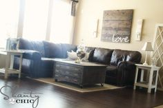 DYI Pottery Barn Knock-Off Coffee Table. Love this whole living room!!!