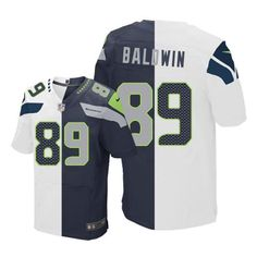 eb7893c4c Nike Seahawks  89 Doug Baldwin White Steel Blue Men s Stitched NFL Elite  Split Jersey