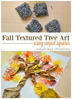 Easy Fall recycled tree art for kids using carpet squares by Crayon Box Chronicles.