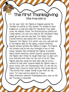 Mrs. MeGown's Second Grade Safari: The First Thanksgiving... with a focus on Sequencing!