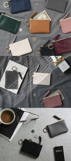 A clean yet elegant card pouch made with quality leather material! Carry your cards, bills, coins, and keys conveniently in this one-of-kind card pouch.